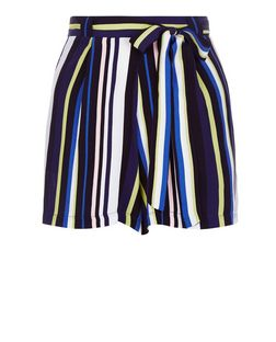 Blue Stripe Belted Shorts | New Look