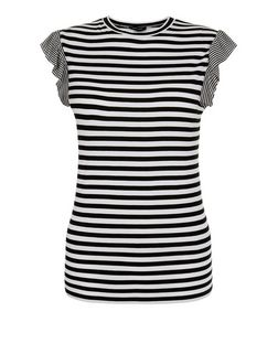 Black Stripe Frill Sleeve T-Shirt  | New Look