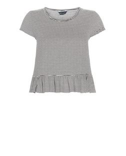 Black Stripe Frill Peplum T-Shirt  | New Look