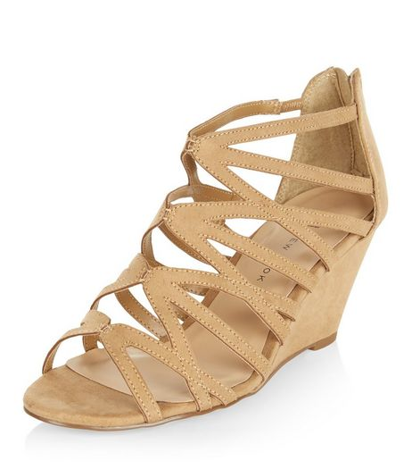 Teens Mink Strappy Wedges | New Look