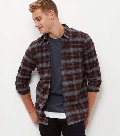Burgundy Check Long Sleeve Shirt  | New Look