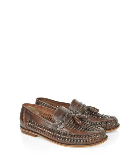 Brown Leather Woven Tassel Loafers | New Look