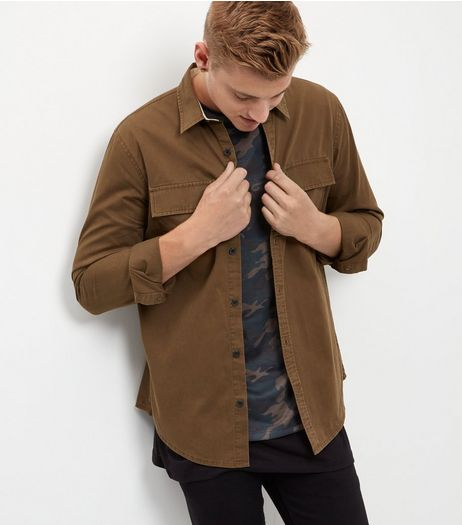 Dark Brown Twill Double Pocket Long Sleeve Shirt | New Look