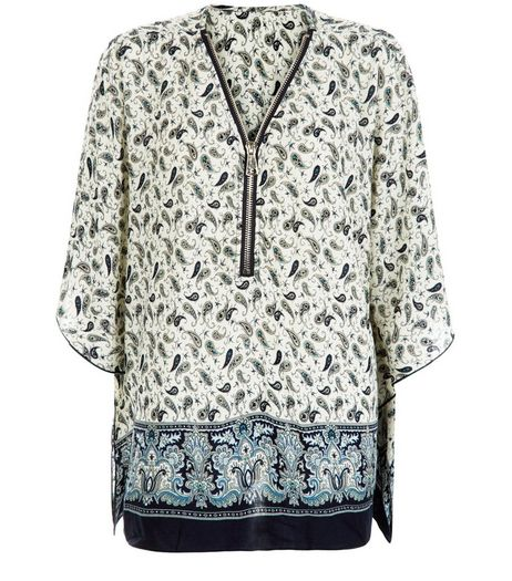Apricot Navy Paisley Print Zip Front Oversized Top  | New Look