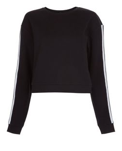 Black Stripe Sleeve Cropped Sweater  | New Look