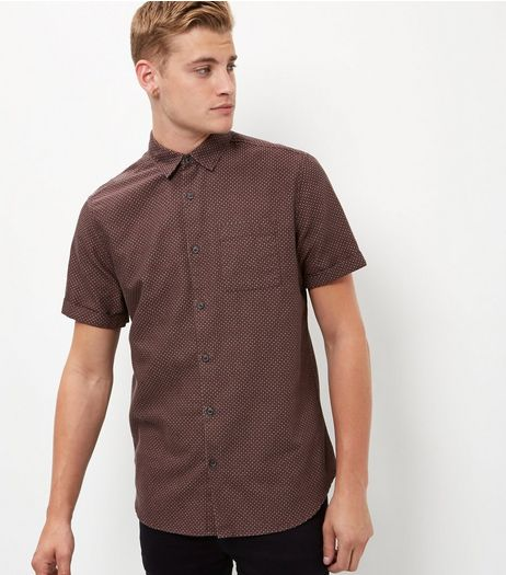 Burgundy Geo Print Single Pocket Short Sleeve Shirt  | New Look
