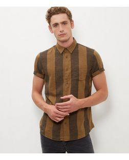 Brown Stripe Short Sleeve Shirt | New Look