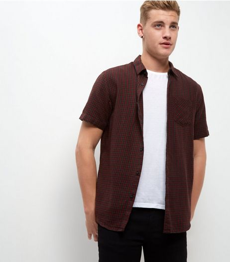 Dark Red Mini Check Roll Sleeve Shirt  | New Look