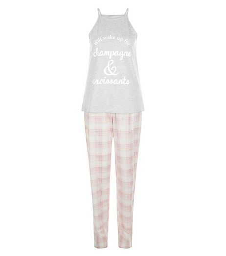 Tall Pink Champagne & Croissants Print Pyjama Set | New Look
