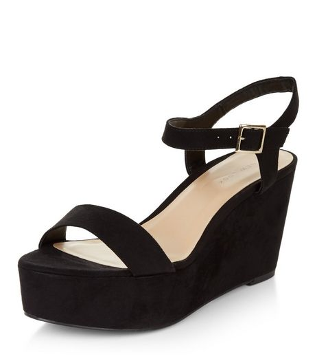 Black Suedette Ankle Strap Flatform Sandals  | New Look