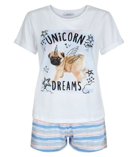 Teens Blue Pug Unicorn Dreams Print Pyjama Set | New Look