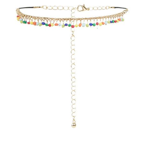 Multicoloured Beaded Anklet | New Look