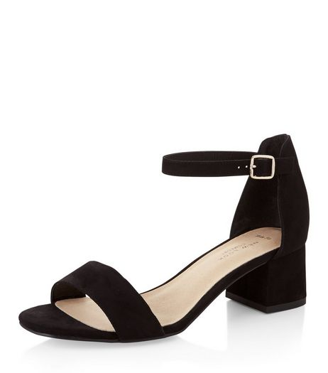 Wide Fit Black Comfort Suedette Block Heel Sandals  | New Look