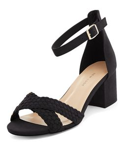 Wide Fit Black Suedette Woven Cross Strap Heeled Sandals  | New Look
