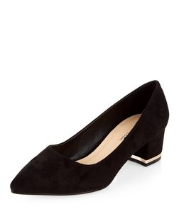 Wide Fit Black Suede Pointed Block Heels  | New Look