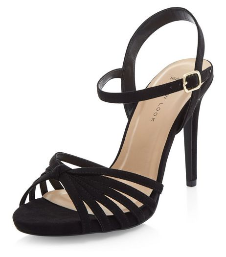 Wide Fit Black Suedette Knotted Strappy Heels  | New Look