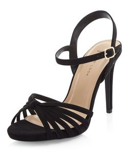 Wide Fit Black Suedette Knotted Heeled Sandals  | New Look