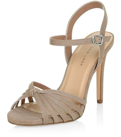 Wide Fit Light Brown Suedette Knotted Strappy Heels  | New Look
