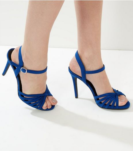 Wide Fit Blue Suedette Knotted Strappy Heels | New Look