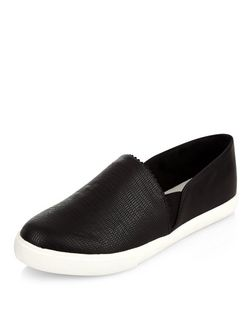 Wide Fit Black Textured Slip On Plimsolls  | New Look