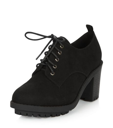Wide Fit Black Lace Up Block Heel Shoe Boots  | New Look