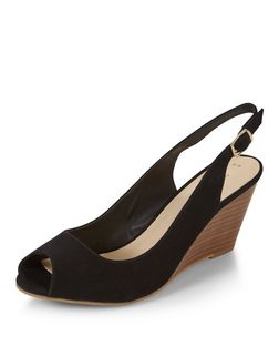 Black Comfort Suedette Sling Back Wedges | New Look
