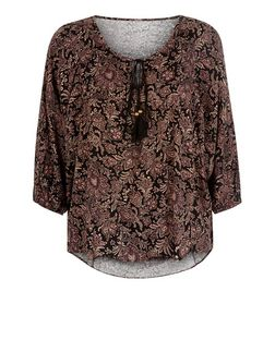 Apricot Black Paisley Print Smock Top  | New Look