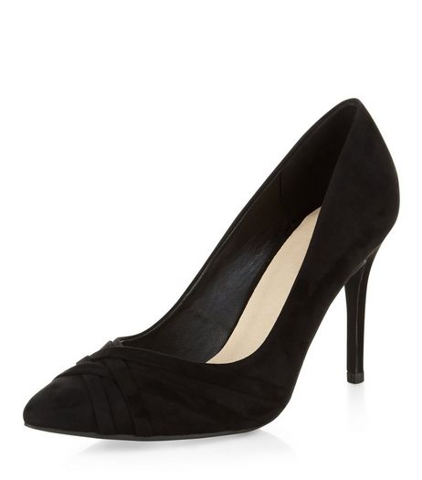 Black Comfort Suedette Strappy Pointed Heels | New Look