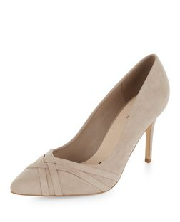 Light Brown Comfort Suedette Strappy Pointed Heels | New Look