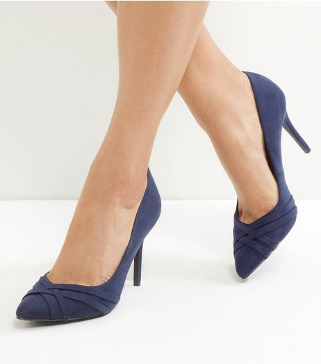 Navy Comfort Suedette Cross Front Heels | New Look