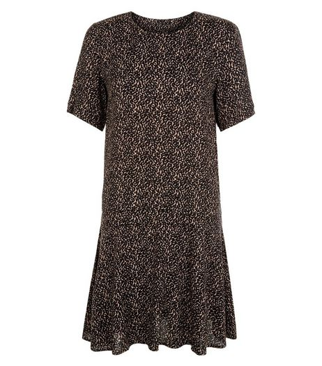 Apricot Dot Print Pleated Waist Dress  | New Look