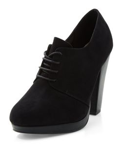 Black Comfort Lace Up Shoe Boots  | New Look
