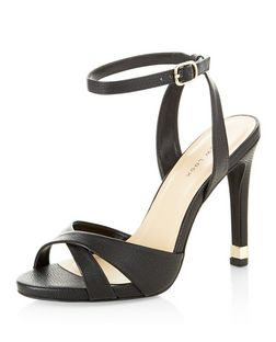 Black Cross Strap Metal Trim Heeled Sandals  | New Look