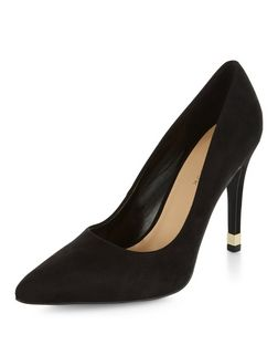 Black Suedette Metal Trim Pointed Heels | New Look