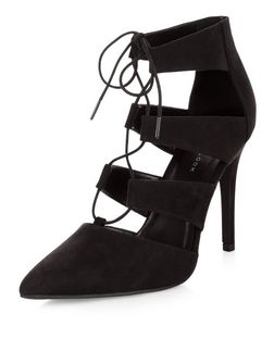 Black Suedette Ghillie Pointed Heels  | New Look