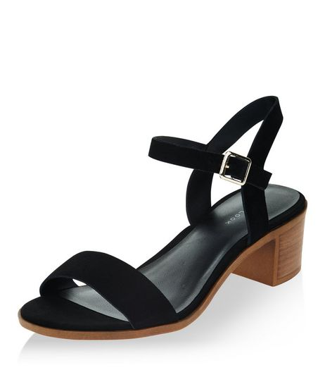 Black Leather Ankle Strap Block Heels  | New Look