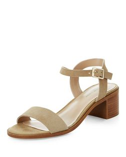 Mink Leather Ankle Stripe Mid Heel Sandals  | New Look
