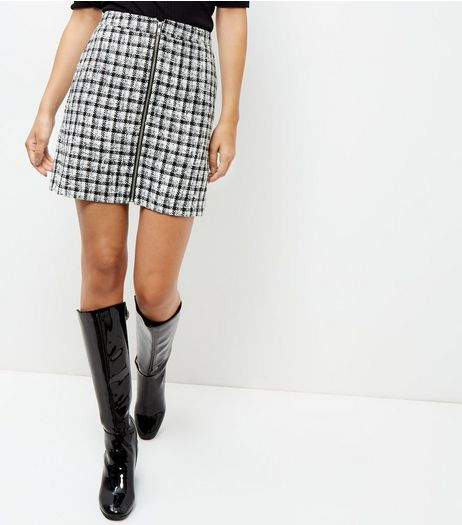 Black Gingham Check Zip Front Skirt  | New Look