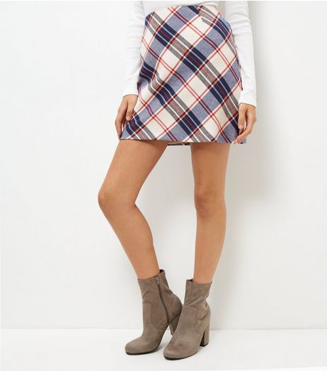 Blue Check Mini Skirt  | New Look