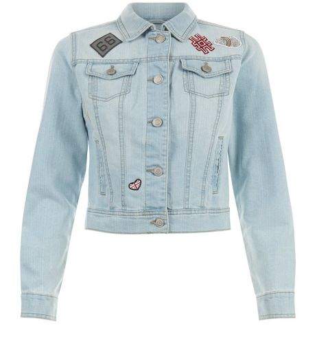 Teens Pale Blue Badge Denim Jacket | New Look