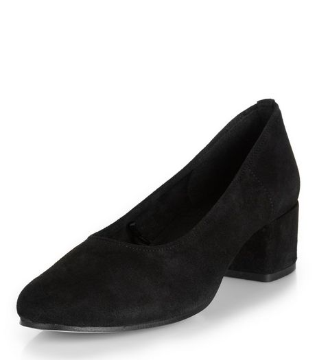 Black Premium Suede Mid Block Heels  | New Look