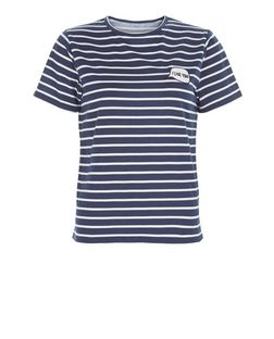 Heartbreak Navy Stripe I Like You Print T-Shirt | New Look