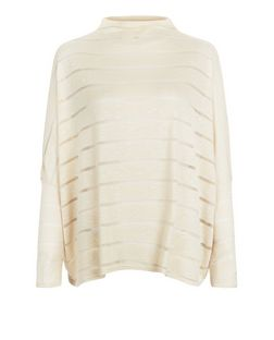 Heartbreak Cream Mesh Panel Stripe Top | New Look