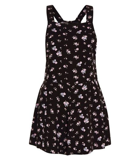 Black Ditsy Floral Print Pinafore Playsuit  | New Look