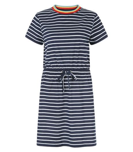 Heartbreak Blue Stripe Contrast Trim Dress | New Look