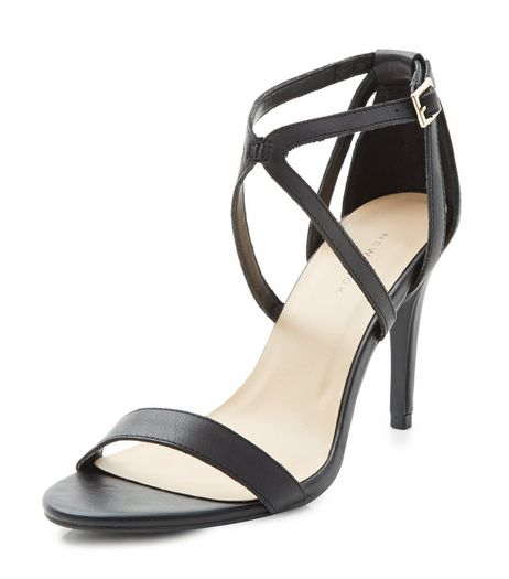 Black Leather Cross Strap Heeled Sandals  | New Look