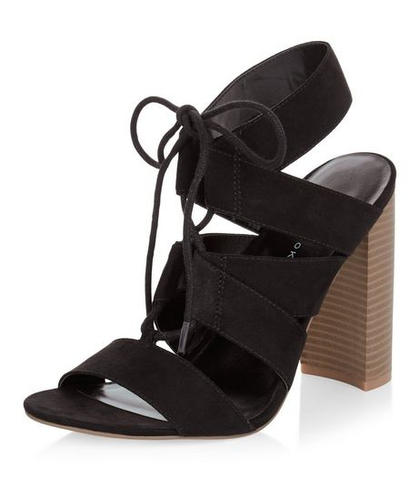 Black Suedette Cut Out Ghillie Block Heels  | New Look
