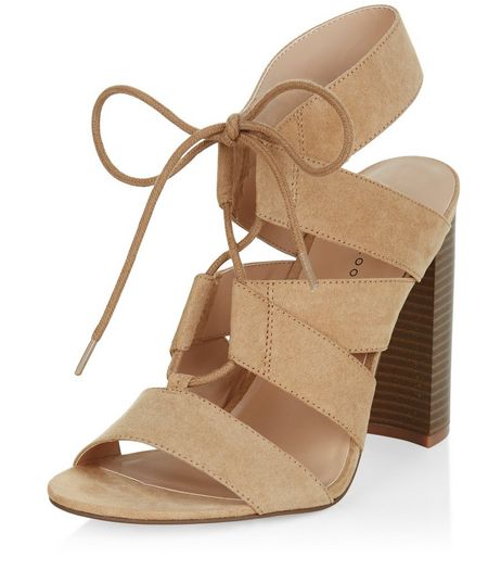 Mink Suedette Cut Out Ghillie Block Heels  | New Look