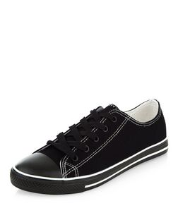 Black Contrast Stitch Lace Up Plimsolls  | New Look