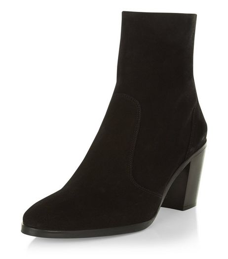 Black Premium Suede Block Heel High Ankle Boots  | New Look